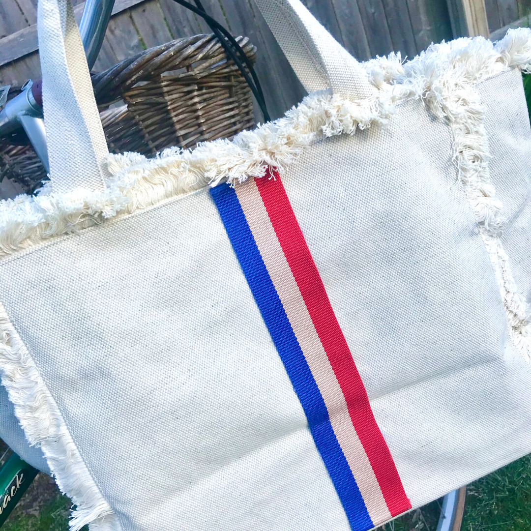 Canvas Fringe Tote | Royal, Red & Tan