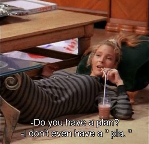"""Phoebe from """"Friends"""" meme """"Do you have a plan? Phoebe responds - """"I don't even have a pla..."""""""