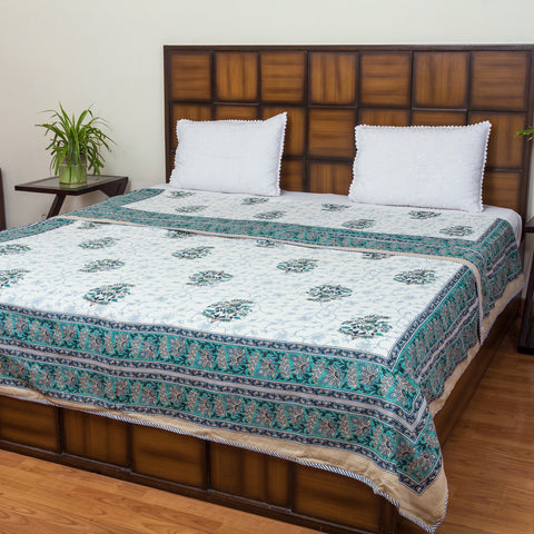 Aqua White Double Bed Reversible Mughal Comforter-Mughal Comforters-CottonLanes