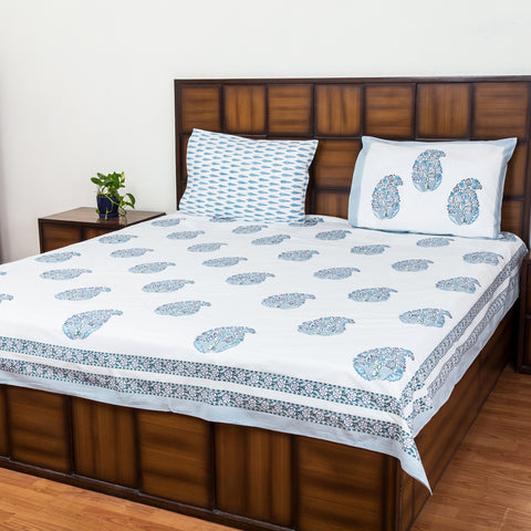 Ash Sky Double Bed Bedsheet with Two Reversible Pillow Cases-Rajwada Bedsheets-CottonLanes