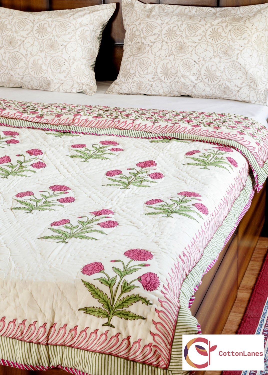 Blooming Carnations Quilt-Quilts-CottonLanes