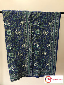 Blue All Over Mughal Quilt-Quilts-CottonLanes