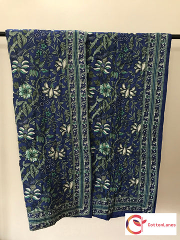 Blue All Over Mughal Quilt-Mughal Quilts-CottonLanes