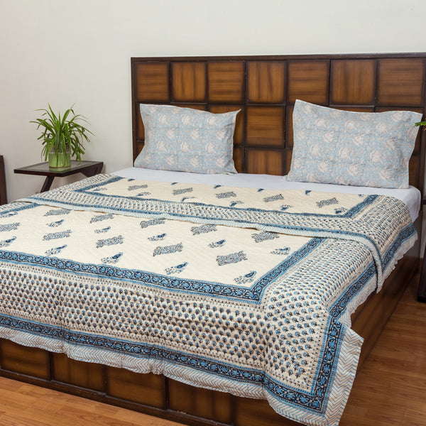 Blue Cheese Double Bed Reversible Quilt-Quilts-CottonLanes