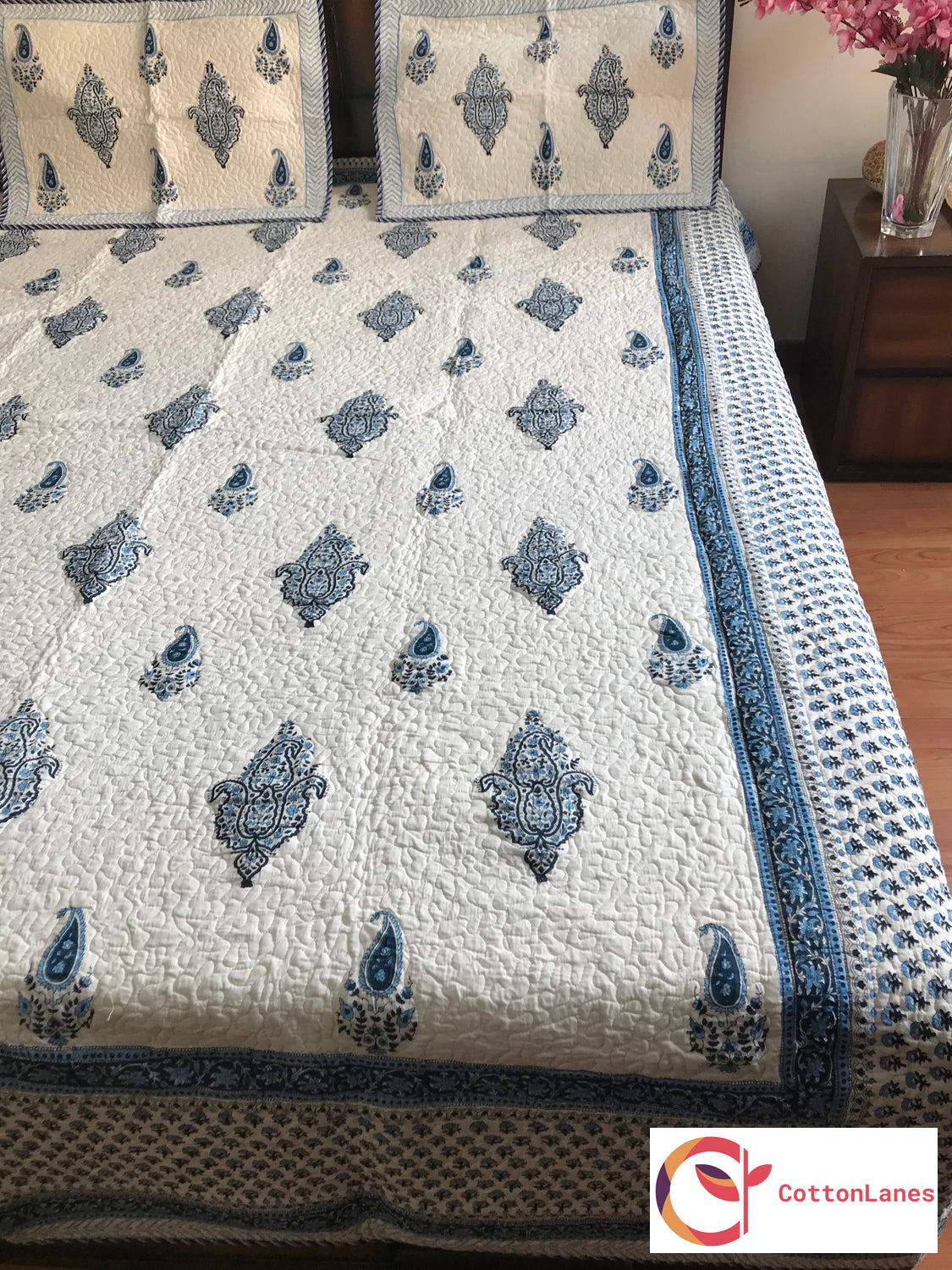 Blue Cheese Quilted Bedcover-Bedcovers-CottonLanes