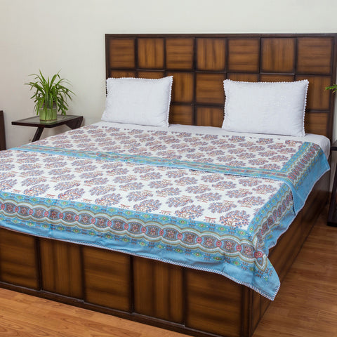 Blue Leaves Double Bed Reversible Mughal Comforter-Mughal Comforters-CottonLanes