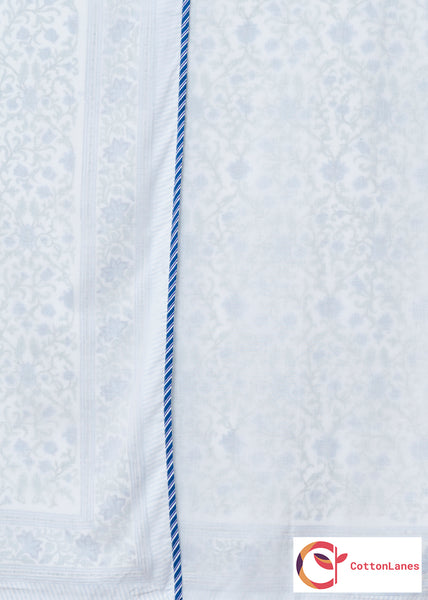 Blue Tendril Pure Muslin, Reversible AC Comforter for Single Bed (60x90 inch)-Malmal Comforters-CottonLanes