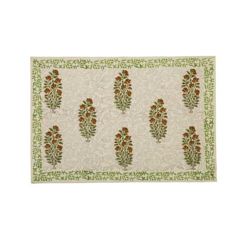Mughal Boota 6 Seater Hand Block Printed, Canvas Table Mats, Set of 6-Table Mats-CottonLanes