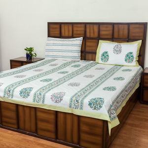 Border Lines Double Bed Bedsheet with 2 Reversible Pillow Covers - 90x108 inch-Rajwada Bedsheets-CottonLanes