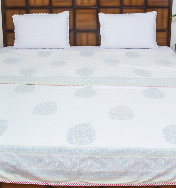 Border Lines Pure Muslin, Reversible AC Comforter for Double Bed (90x108 inch)-Malmal Comforters-CottonLanes