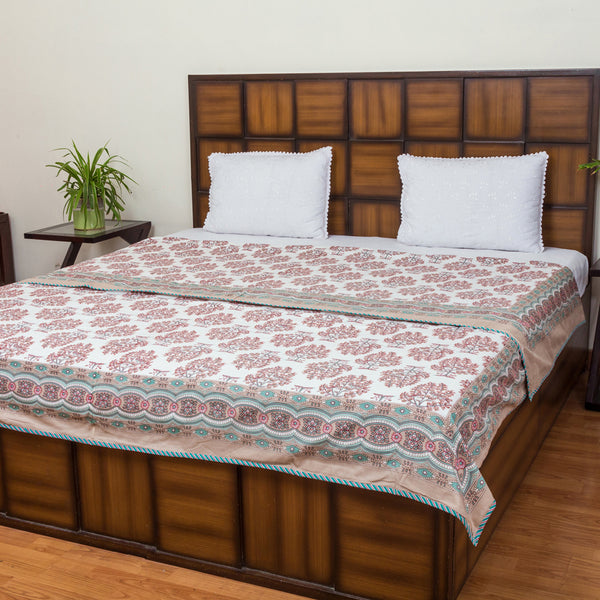 Brown Leaves Pure Cotton, Reversible AC Comforter for Double Bed (90x108 inch)-Mughal Comforters-CottonLanes