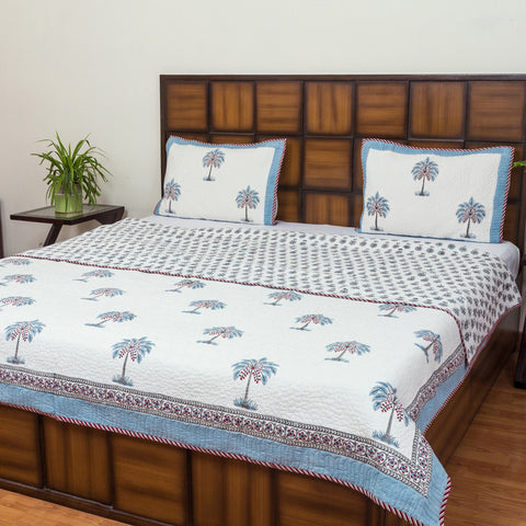 Coconut Farms Reversible Double Bed Quilted BedCover-Bedcovers-CottonLanes