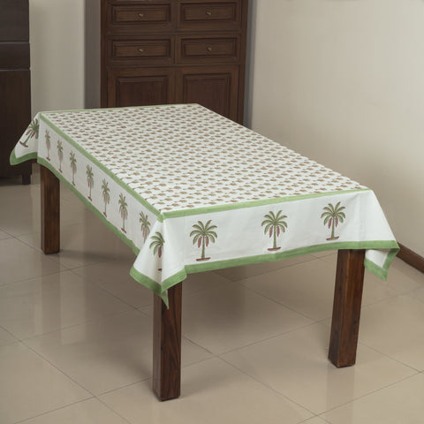 Coconut Garden 6 Seater Hand Block Printed, Canvas Fabric Dining Table Cover - 60x90 inch-Table Covers-CottonLanes