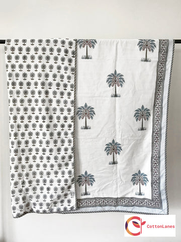 Coconut Palms Single Bed Reversible Comforter-Rajwada Comforters-CottonLanes