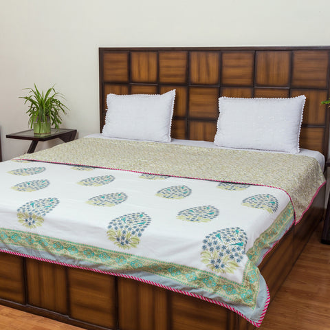 Color Splash Double Bed Reversible Comforter-Rajwada Comforters-CottonLanes