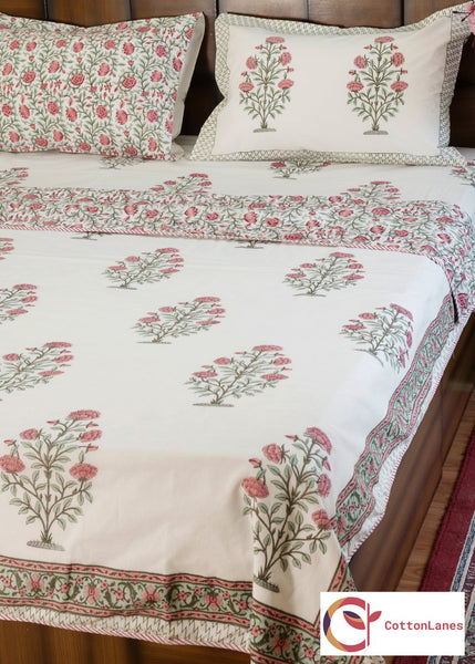Peach Tea Rose Pure Cotton, Reversible AC Comforter for Single Bed (60x90 inch)-Rajwada Comforters-CottonLanes