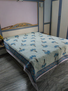 Blue Feathers Double Bed Bedcover-CottonLanes