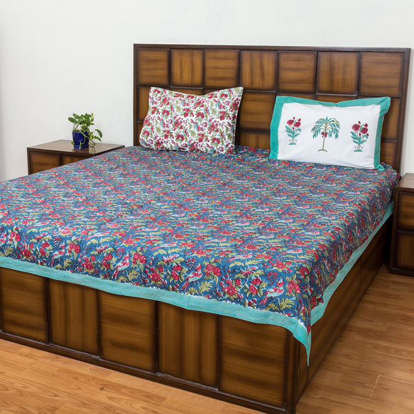 Deep Blue Sea Double Bed Bedsheet with 2 Reversible Pillow Covers - 90x108 inch-Rajwada Bedsheets-CottonLanes