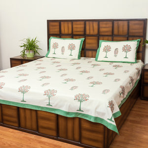 Desert Tree Double Bed Bedsheet with 2 Reversible Pillow Covers - 90x108 inch-Rajwada Bedsheets-CottonLanes
