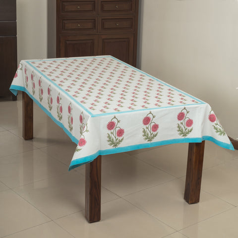 Sadabahar 6 Seater Hand Block Printed, Canvas Fabric Dining Table Cover - 60x90 inch-Table Covers-CottonLanes