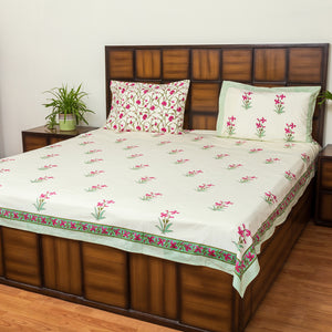 Firangipani Double Bed Bedsheet with 2 Reversible Pillow Covers - 90x108 inch-Rajwada Bedsheets-CottonLanes