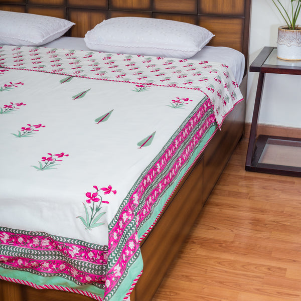 Firangipani Pure Cotton, Reversible AC Comforter for Single Bed (60x90 inch)-Rajwada Comforters-CottonLanes