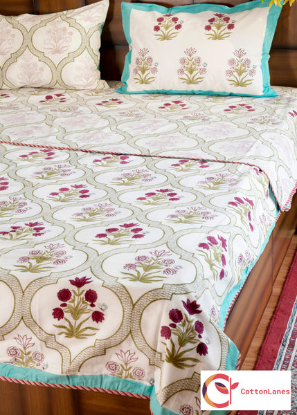Floral Window Pure Cotton, Reversible AC Comforter-Rajwada Comforters-CottonLanes