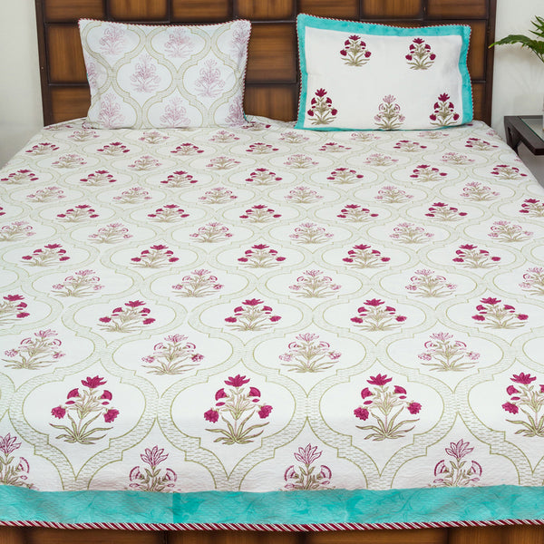 Floral Window Premium Jacquard Fabric BedCover for Double Bed (90x108 inch) 2 Pillow Covers-Bedcovers-CottonLanes