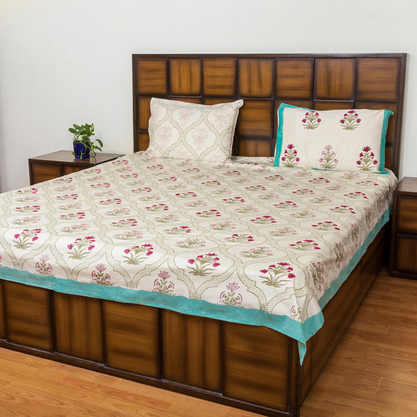 Floral Window Double Bed Bedsheet with 2 Reversible Pillow Covers - 90x108 inch-Rajwada Bedsheets-CottonLanes