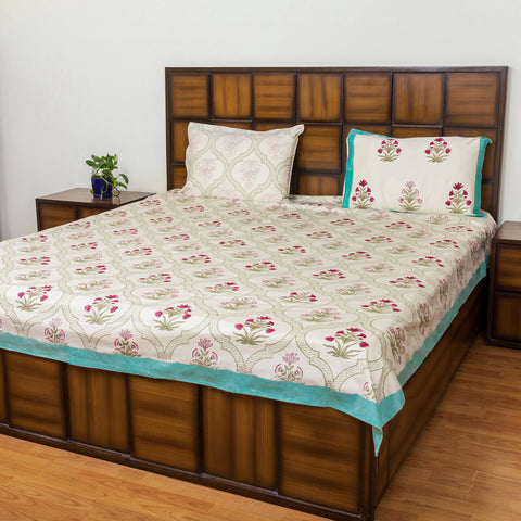 Floral Window Double Bed Bedsheet with Two Reversible Pillow Cases-Rajwada Bedsheets-CottonLanes