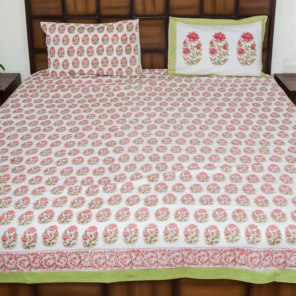 Flower Power Double Bed Bedsheet with 2 Reversible Pillow Covers - 90x108 inch