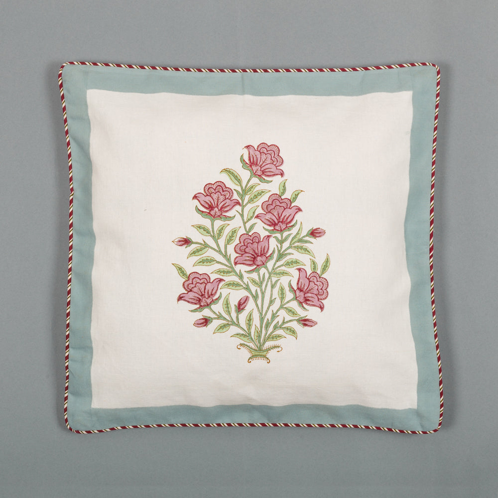 Flower Bunch : Hand Block Printed, Canvas Cushion Cover, 18x18 Inches, Set of 5-Cushion Covers-CottonLanes