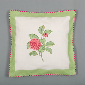 Flower Garden : Hand Block Printed, Canvas Cushion Cover, 18x18 Inches, Set of 5-Cushion Covers-CottonLanes