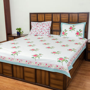 Flower Garden Double Bed Bedsheet with 2 Reversible Pillow Covers - 90x108 inch-Rajwada Bedsheets-CottonLanes