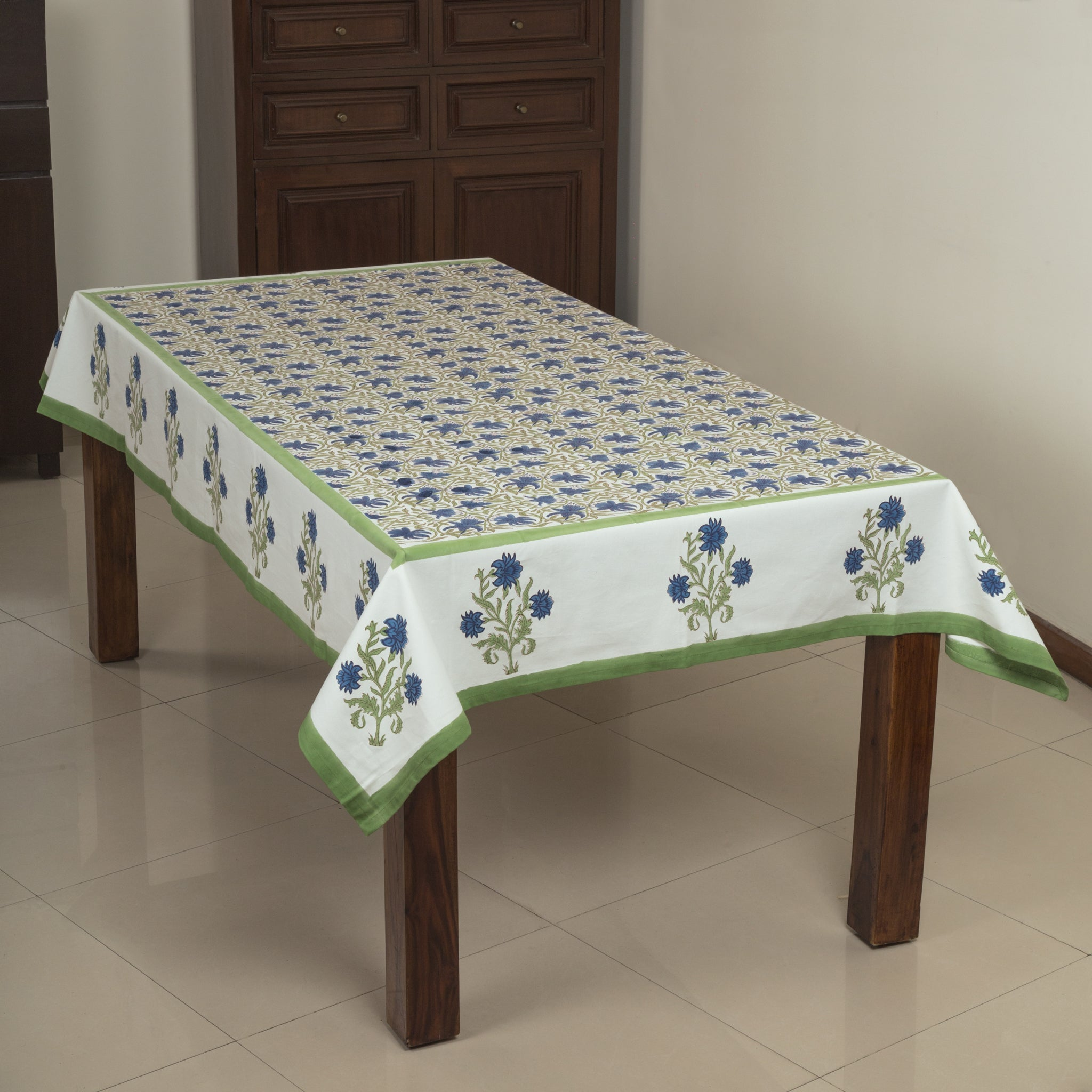 Flower Railing 6 Seater Hand Block Printed, Canvas Fabric Dining Table Cover - 60x90 inch-Table Covers-CottonLanes