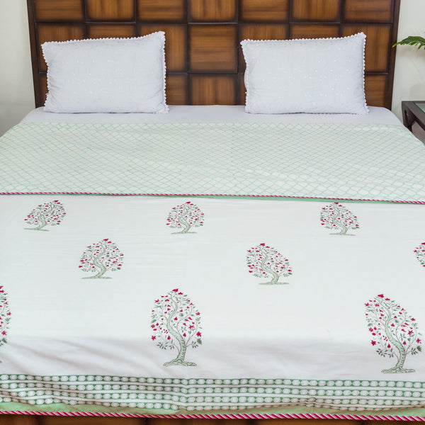 Flower in the maze Pure Cotton, Reversible AC Comforter for Double Bed (90x108 inch)-Rajwada Comforters-CottonLanes