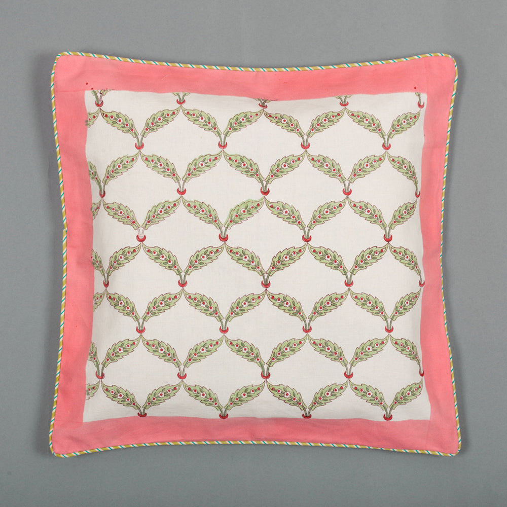Found In Maze : Hand Block Printed, Canvas Cushion Cover, 18x18 Inches, Set of 5-Cushion Covers-CottonLanes