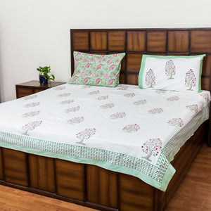 Full Bloom Double Bed Bedsheet with 2 Reversible Pillow Covers - 90x108 inch-Rajwada Bedsheets-CottonLanes
