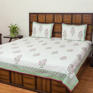 Full Bloom Tree Double Bed Quilted BedCover-Bedcovers-CottonLanes