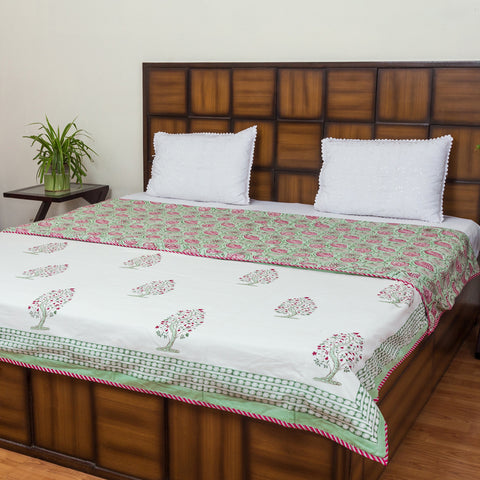 Full Bloom Tree Double Bed Reversible Comforter-Rajwada Comforters-CottonLanes