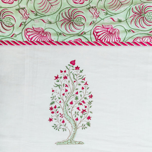 Full Bloom Tree Pure Cotton, Reversible AC Comforter for Double Bed (90x108 inch)-Rajwada Comforters-CottonLanes