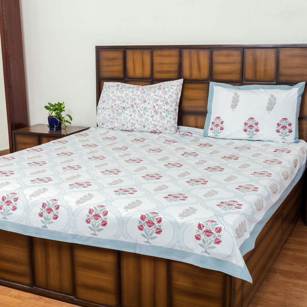 Garden of Senses Double Bed Bedsheet with 2 Reversible Pillow Covers - 90x108 inch-Rajwada Bedsheets-CottonLanes