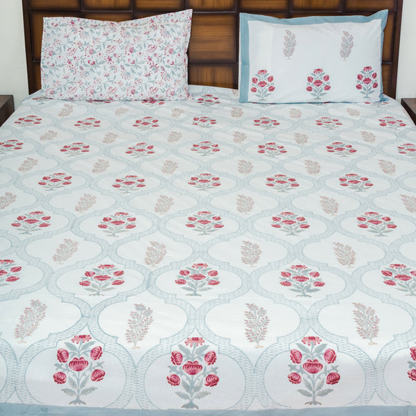 Garden of Senses Single Bed Reversible Comforter & Double Bed Bedsheet Set-Set-CottonLanes
