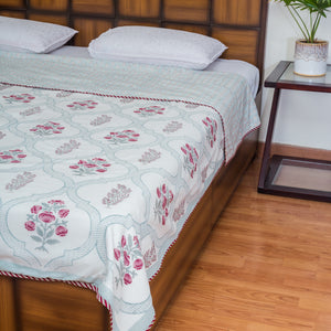 Garden of Senses Single Bed Reversible Comforter-Rajwada Comforters-CottonLanes