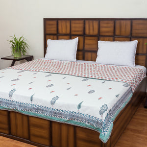 Garden of Five Senses Double Bed Reversible Comforter & Double Bed Bedsheet Set-Set-CottonLanes