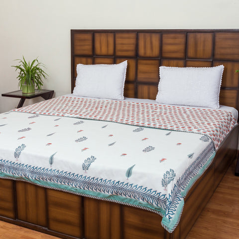 Garden of five Senses Pure Cotton, Reversible AC Comforter for Double Bed (90x108 inch)-Rajwada Comforters-CottonLanes