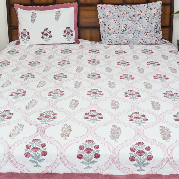 Garden of Senses Premium Jacquard Fabric BedCover for Double Bed (90x108 inch) 2 Pillow Covers-Bedcovers-CottonLanes