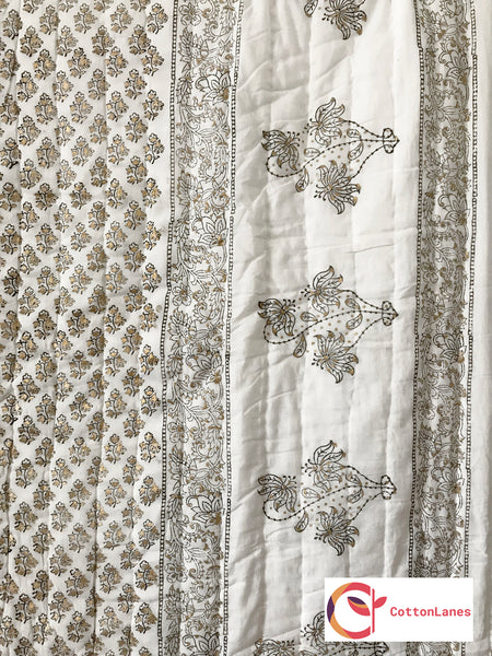 Golden & Silver Hue Double Bed Quilt-CottonLanes