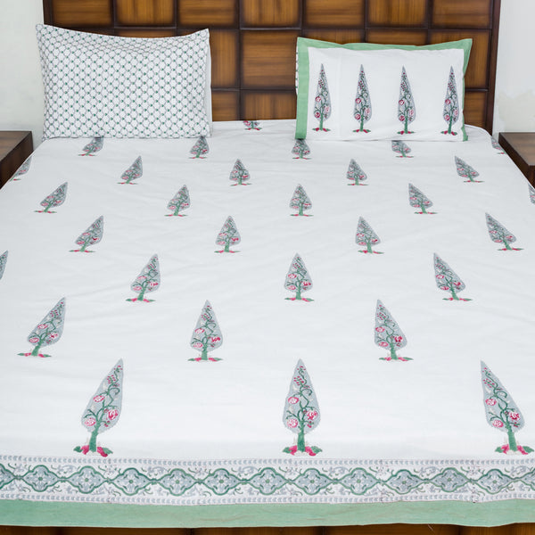 Grey Cypress Double Bed Bedsheet with 2 Reversible Pillow Covers - 90x108 inch-Rajwada Bedsheets-CottonLanes
