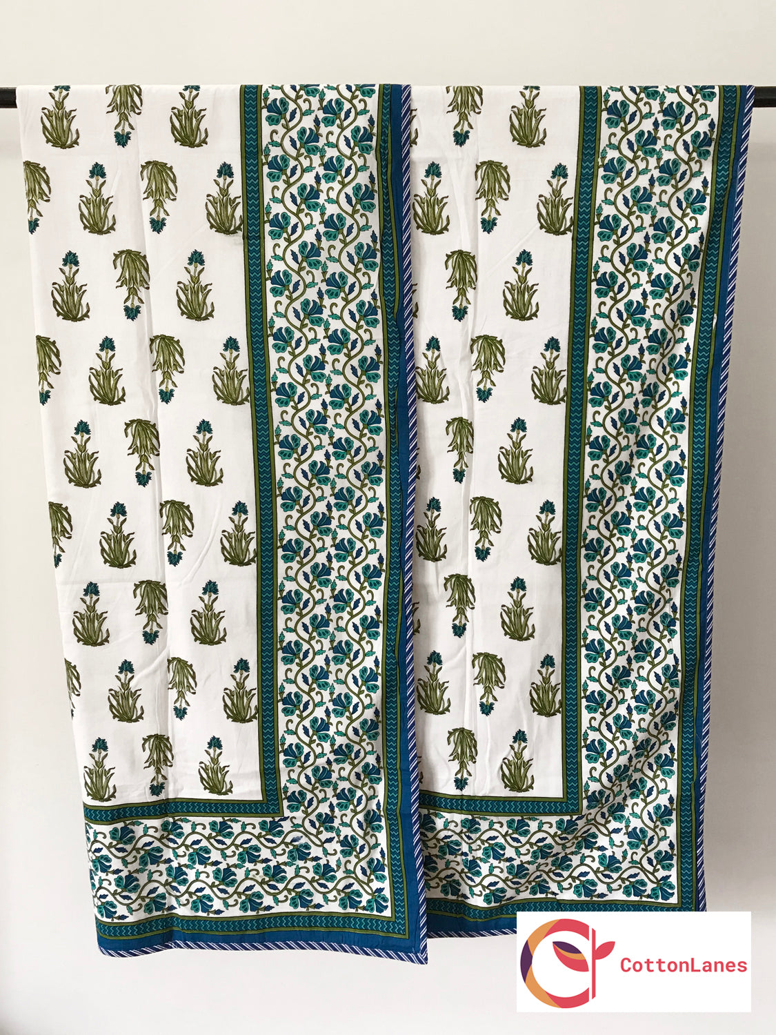 Green & Blue Motif Single Bed Reversible Mughal Comforter-CottonLanes